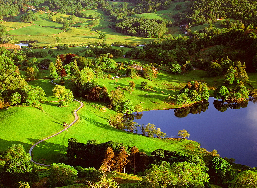 Loughrigg Tarn in the Lake District National Park, Cumbria, England, United Kingdom, Europe