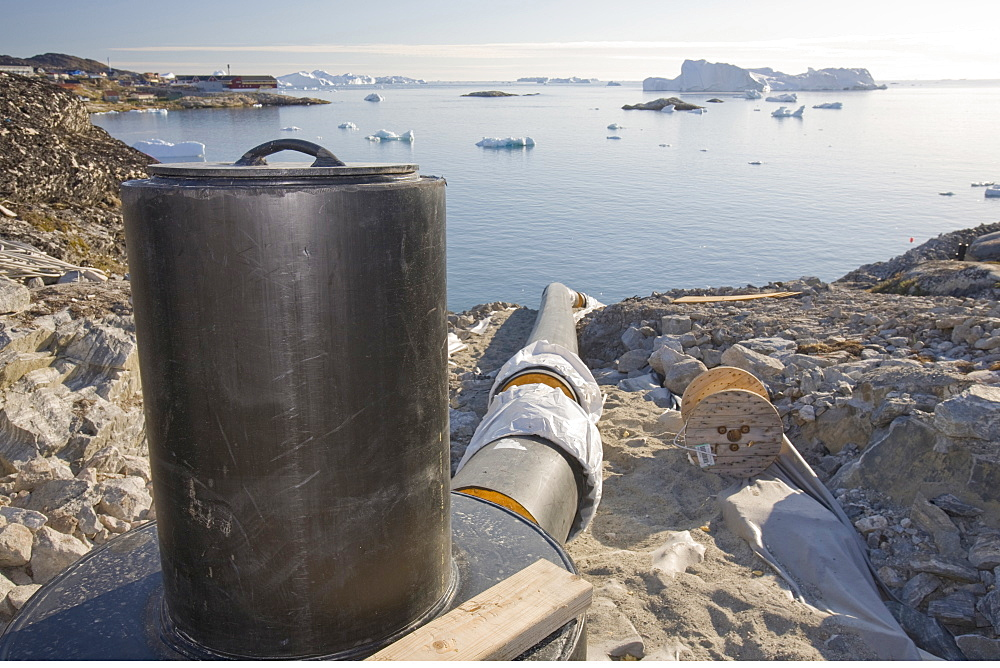 New sewers being laid on a house building site in Ilulissat, Greenland, Polar Regions