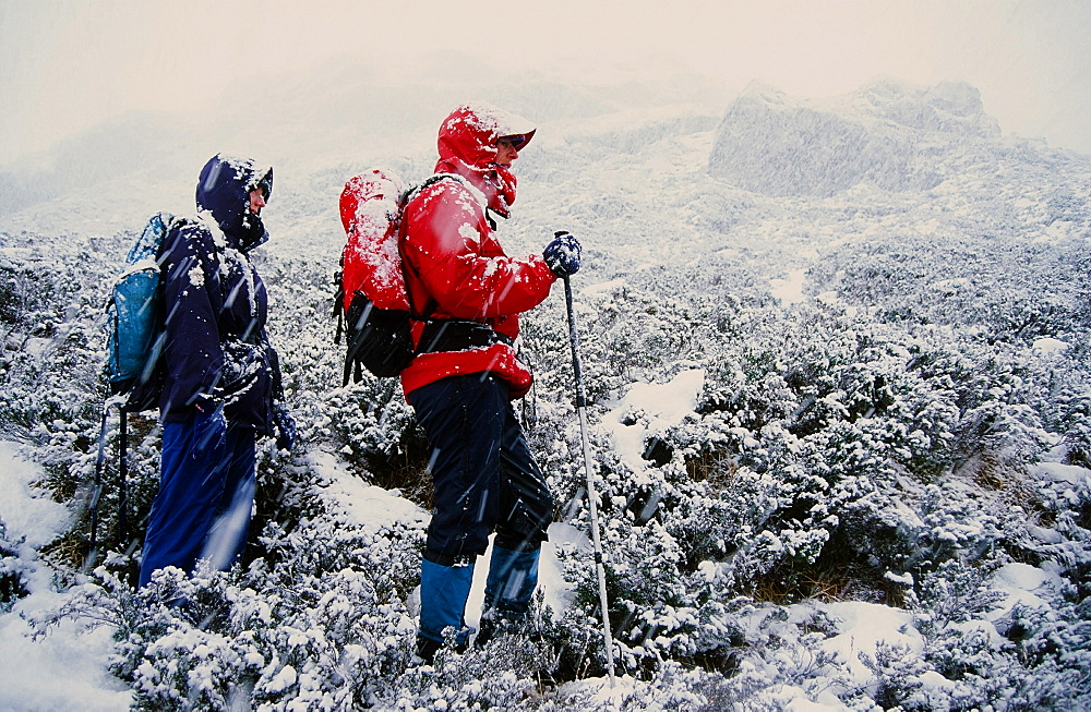 Women fell walkers in heavy snow on Quinag in Scotland, United Kingdom, Europe