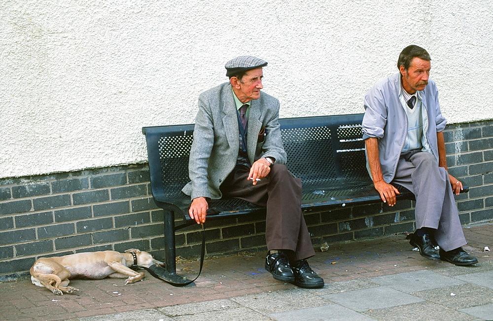 Old working class men on a council estate in Carlisle, Cumbria, England, United Kingdom, Europe