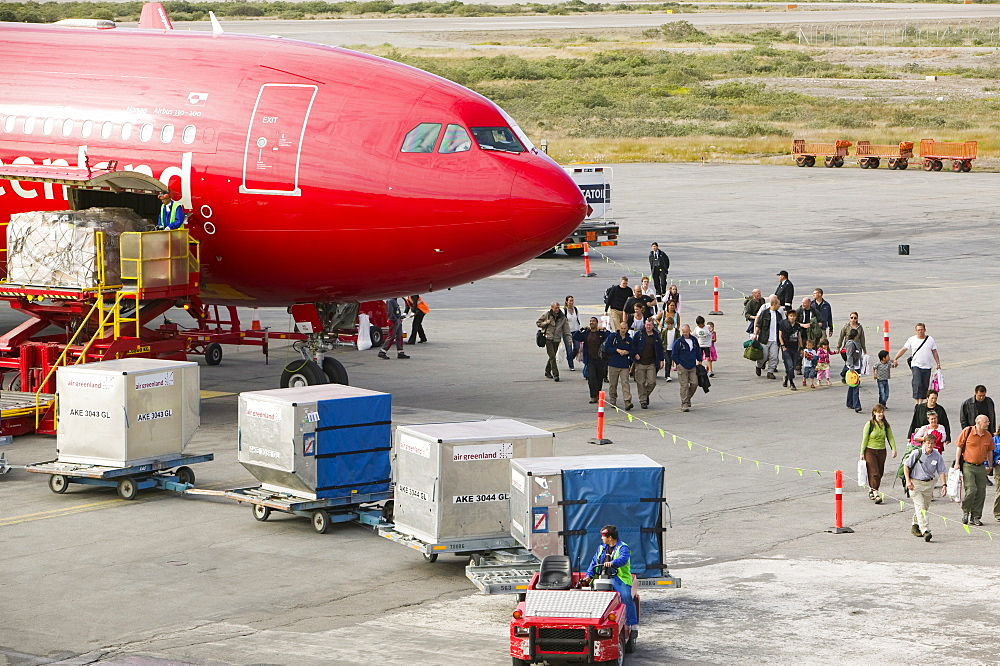 An Air Greenland flight at Kangerlussuaq airport bringing freight and tourists to Greenland, Polar Regions