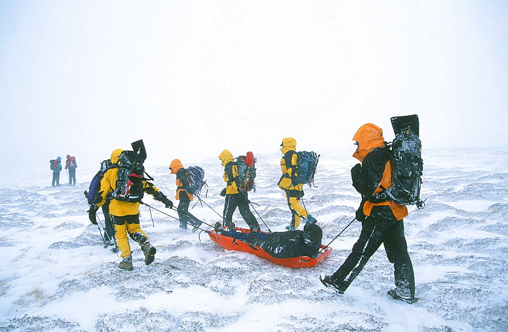Mountain rescue team members in the Scottish Highlands, Scotland, United Kingdom, Europe