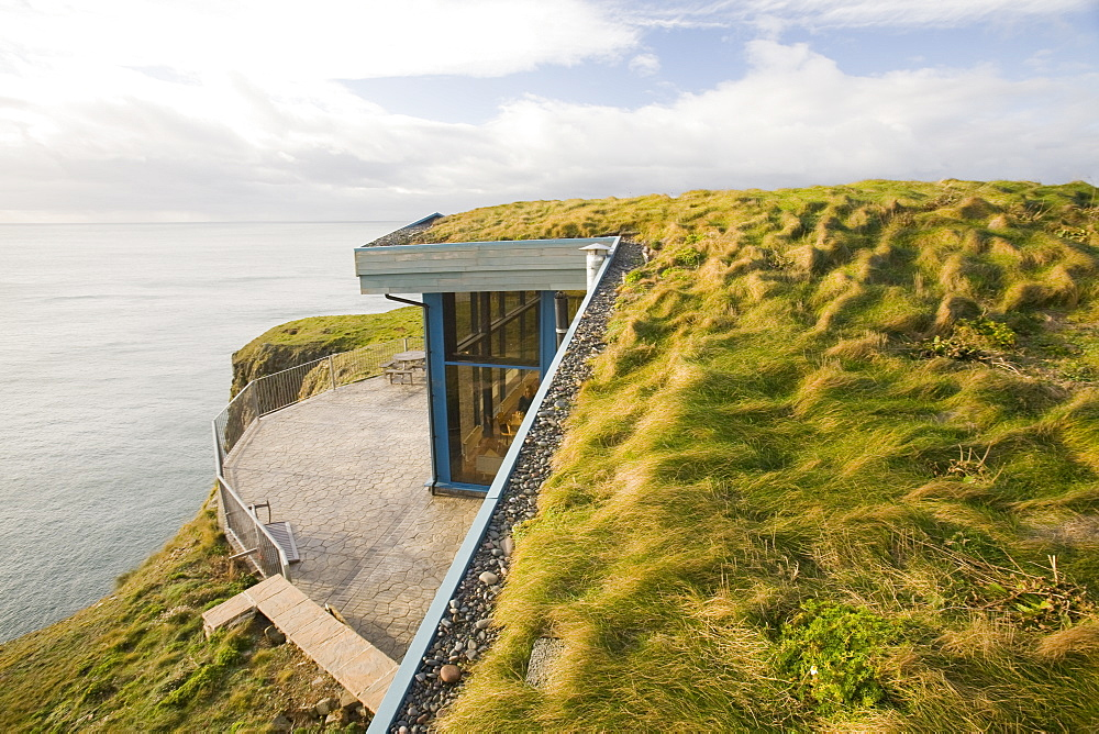 The Gallie Craig Tea room and cafe, a turf roofed building on Scotland's most southerly point, on the Mull of Galloway Scotland, United Kingdom, Europe