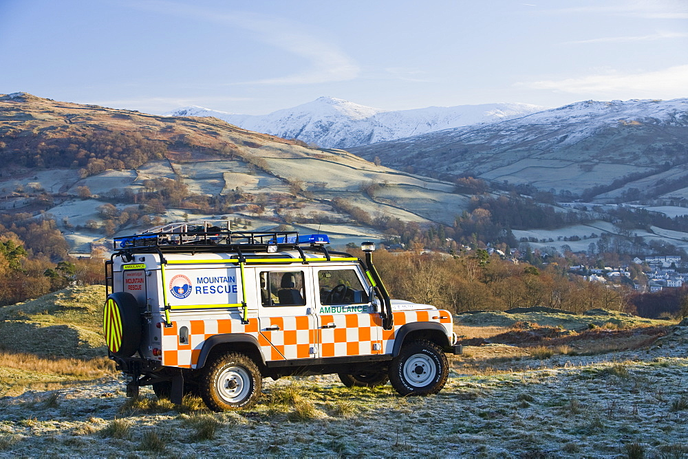 A Mountain Rescue Landrover above Ambleside in the Lake District, Cumbria, England, United Kingdom, Europe - 911-3480