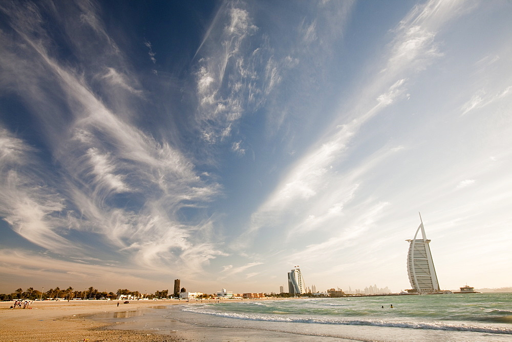 The iconic Burj al Arab hotel in Dubai, United Arab Emirates, Middle East