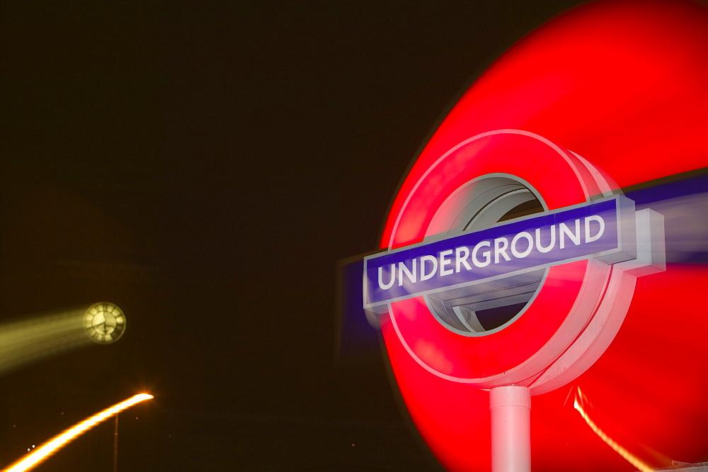 A London Underground sign at Kings Cross, London, England, United Kingdom, Europe