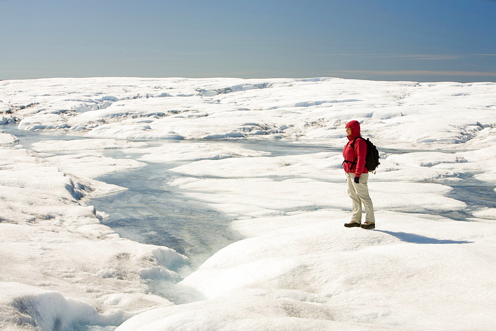 Melt water on the Greenland ice sheet near camp Victor north of Ilulissat, Greenland, Polar Regions