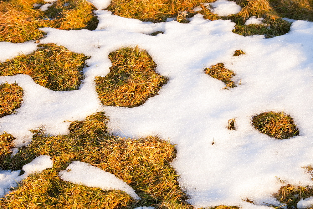 Snow melting in spring time in Ambleside, Cumbria, England, United Kingdom, Europe