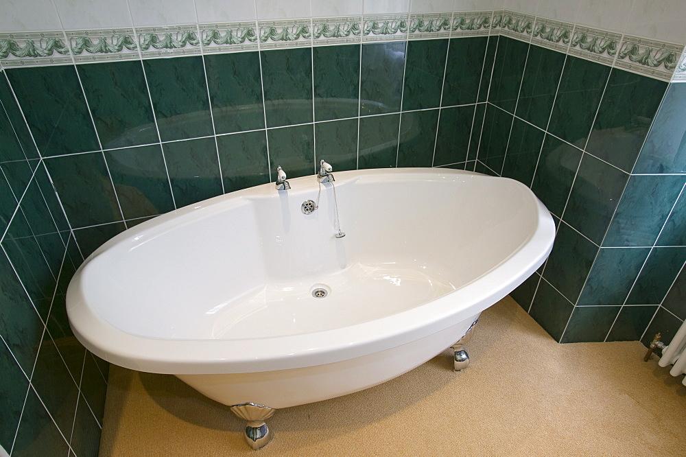 A hotel bathroom bath, Windermere, Cumbria, England, United Kingdom, Europe