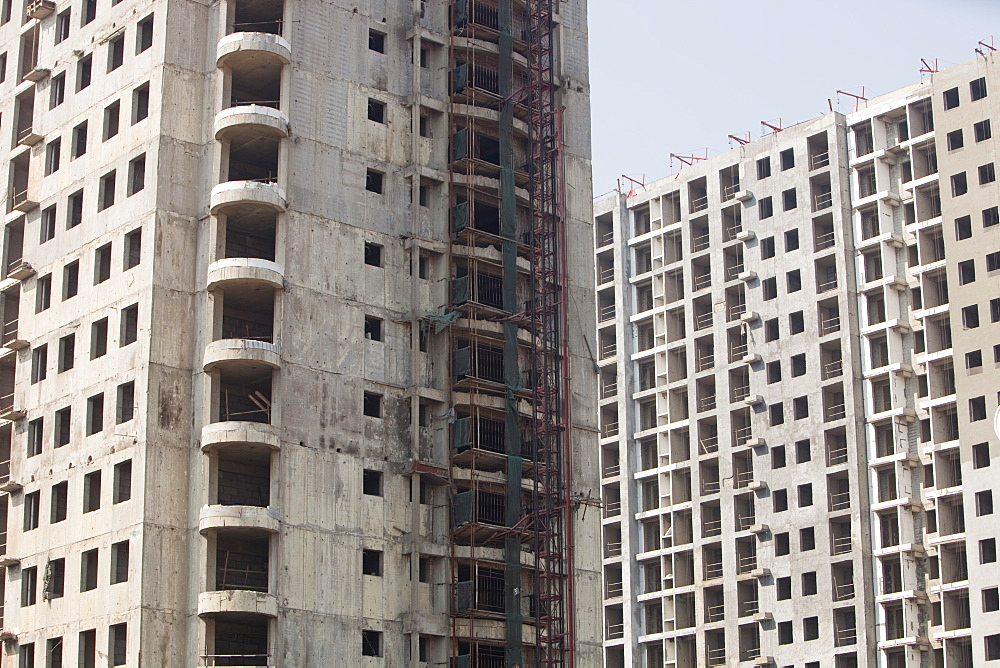 New high rise apartment blocks replacing old slums, China, Asia - 911-3841