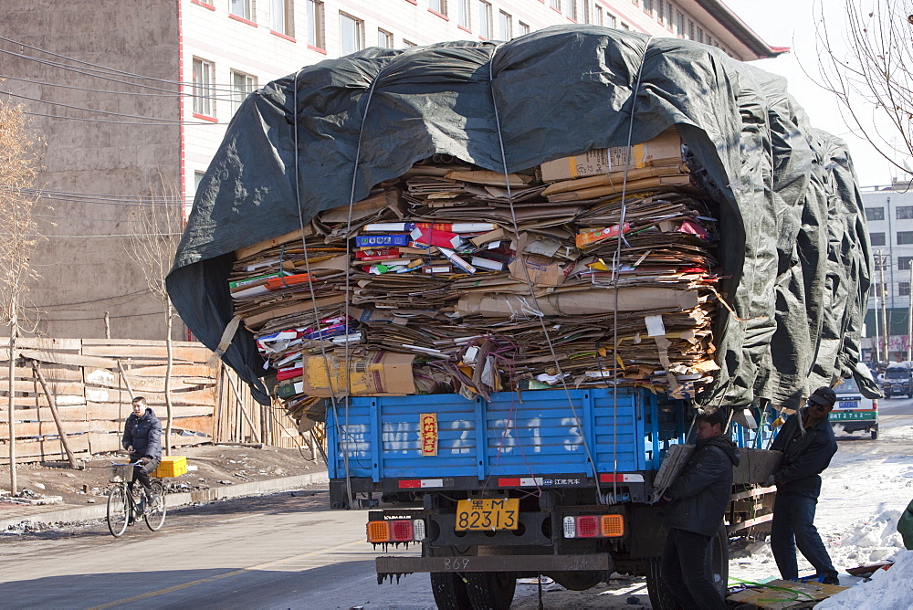 Cardboard being sent for recycling in Suihua city in Heilongjiang Province in northern China, Asia