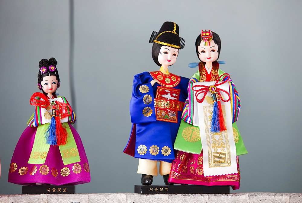 Traditional South Korean dolls in a house belonging to a South Korean emigre in China, Asia