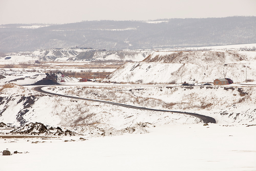 An open cast coal mine near Heihe on the Chinese Russian border, Heilongjiang, China, Asia