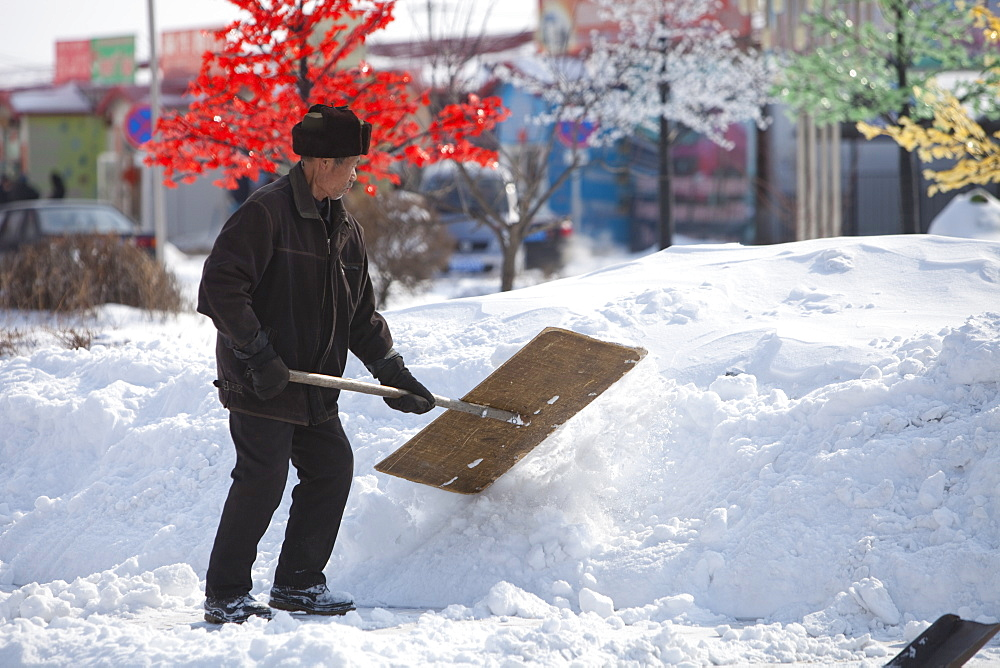 The city of Heihe on the Chinese Russian border was particularly badly hit by the March 2009 heavy snowfall, Heilongjiang, China, Asia
