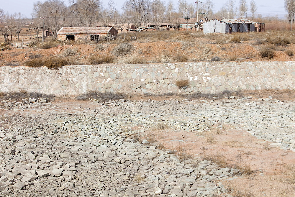 A village water storage reservoir completely dried up in Shanxi, China, Asia
