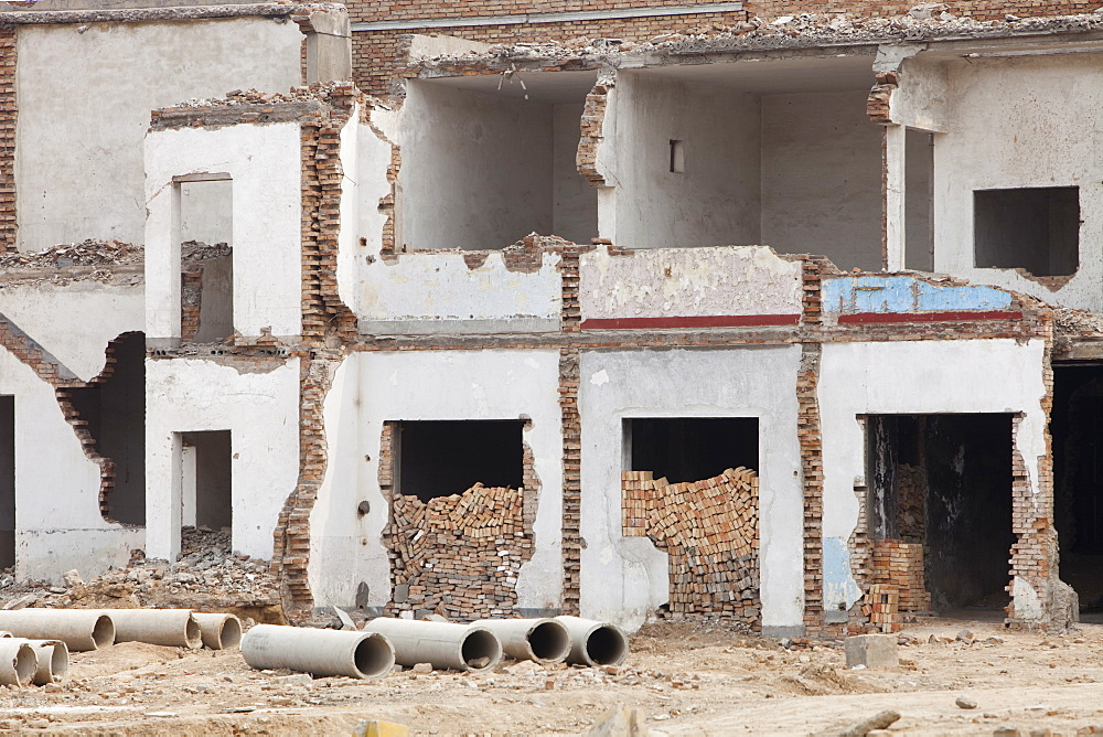 Slum dwellings being demolished to make way for new high rise apartment blocks, Xian city, northern China, Asia