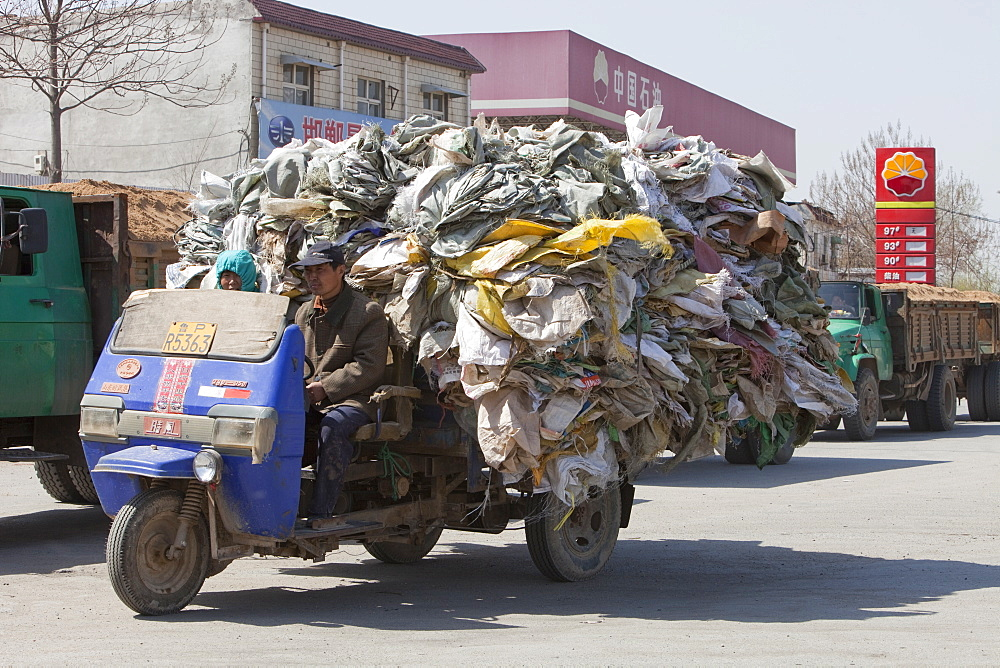 A truck laden with plastic heading for a recycling plant near Xian city, Northern China, Asia - 911-4168