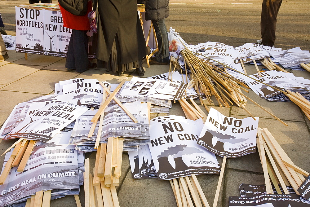 Protest banners at a climate change rally in London in December 2008, England, United Kingdom, Europe