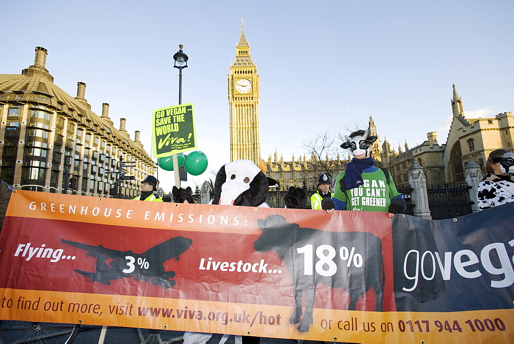 Protestors at a climate change rally in Parliament Square London in December 2008 with Big Ben behind, London, England, United Kingdom, Europe