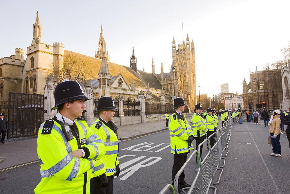 Police protecting the House of Parlaiment from climate change protestors on a rally in Parliament Square in December 2008, London, England, United Kingdom, Europe