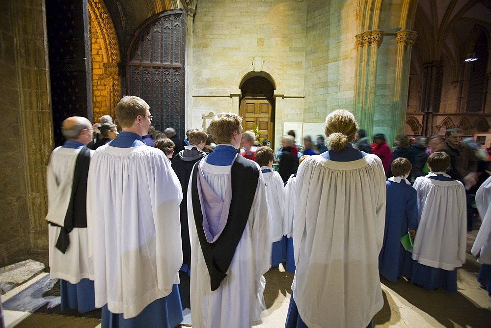 Choir boys in Lincoln Cathedral for a Christmas service, Lincoln, Lincolnshire, England, United Kingdom, Europe