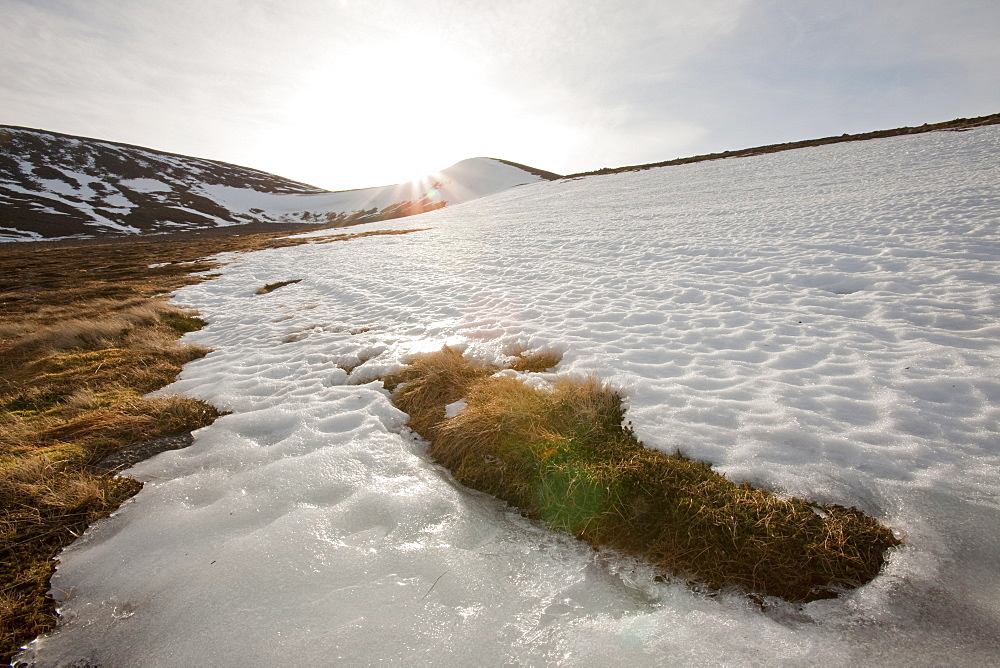 Snow melting in spring in the Cairngorm mountains in Scotland, United Kingdom, Europe