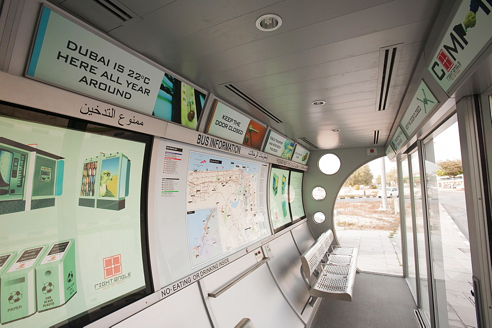An air conditioned bus stop in Dubai, United Arab Emirates, Middle East