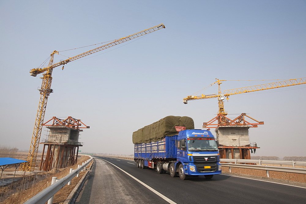 Building a new railway line across Heilongjiang province in northern China, Asia