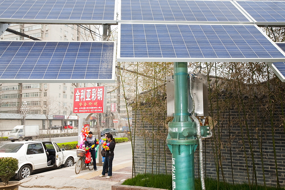 A communty scale solar electric generating station in Xian City in northern China, Asia