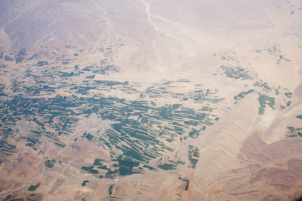 Flying over Iran showing the geology and irrigated fields, Iran, Middle East