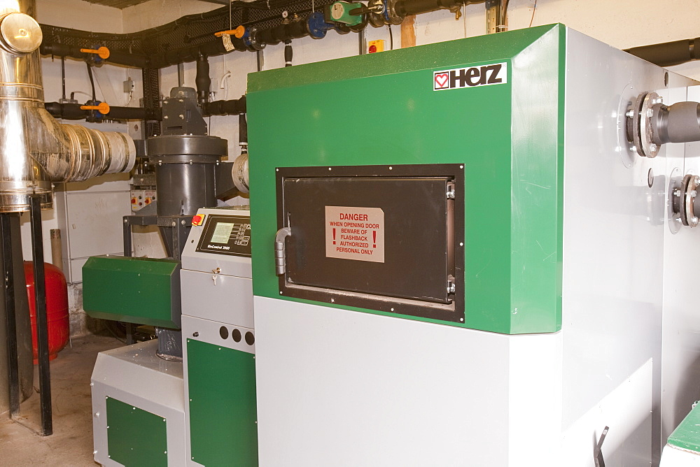 A biofuel boiler in the grounds of the Langdale Timeshare in the Lake District, Cumbria, England, United Kingdom, Europe