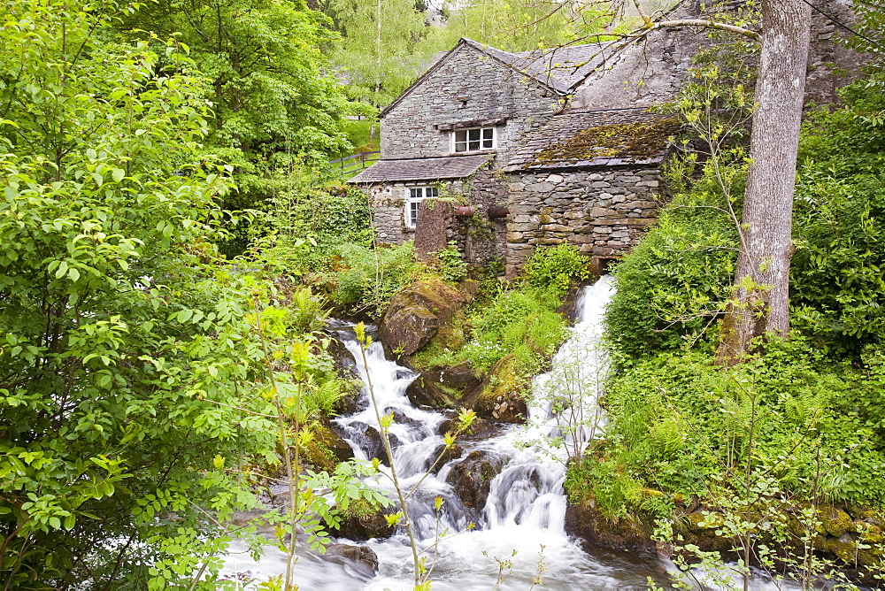 A hydro electric turbine producing green electricity in the grounds of Rydal Hall near Ambleside, Lake District, Cumbria, England, United Kingdom, Europe