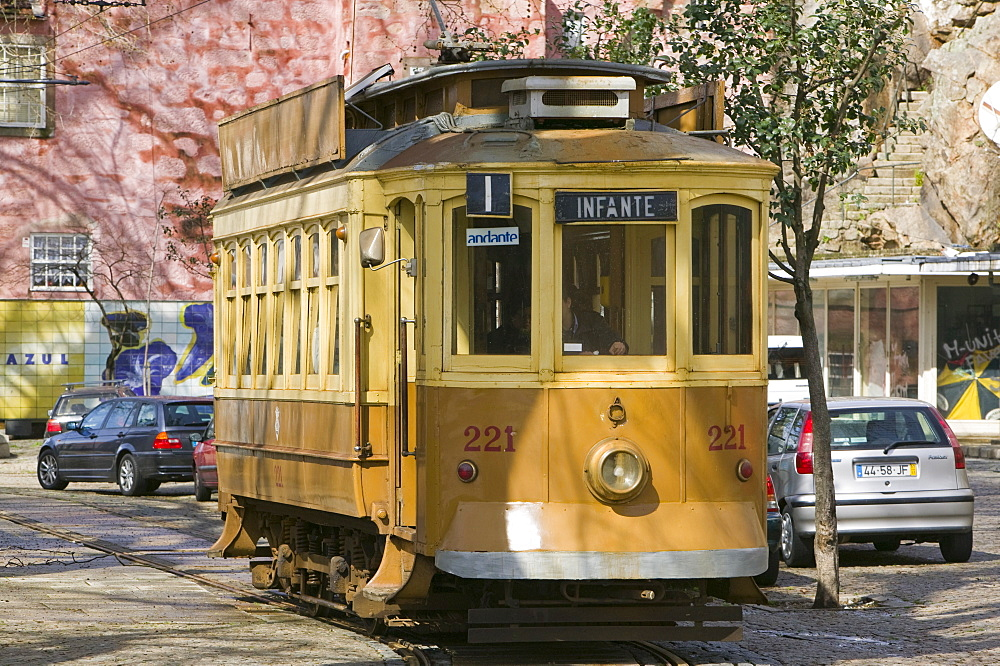 An old tram in Porto, Portugal, Europe