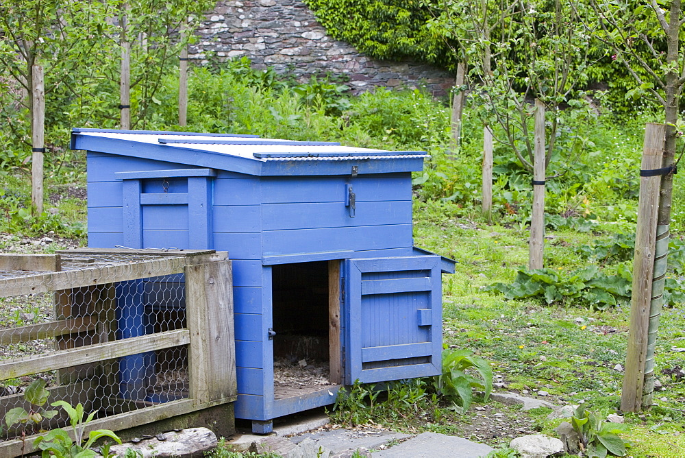 A hen house for free range hens in the Rydal Hall Community Vegetable Garden, near Ambleside, Cumbria, England, United Kingdom, Europe