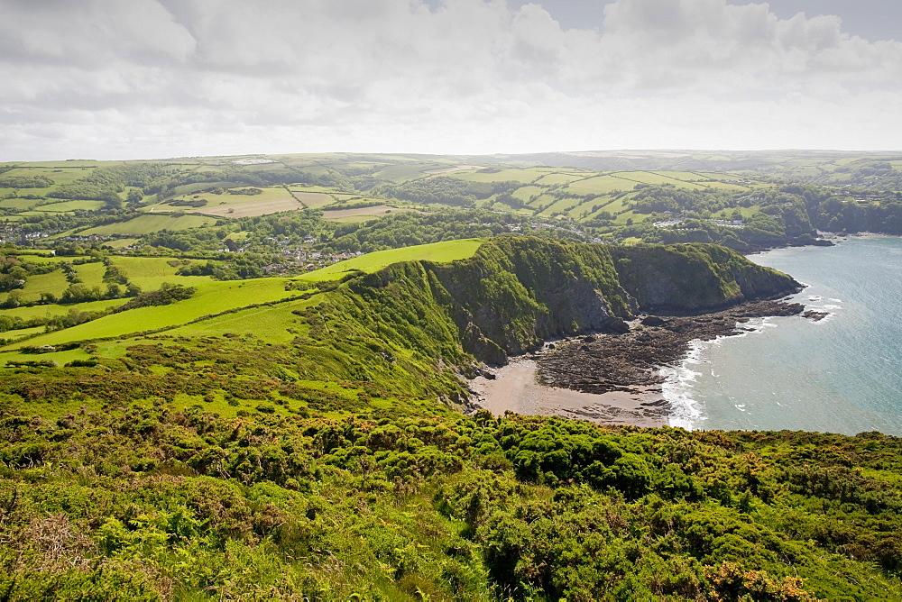 Combe Martin and surrounding countryside on the north Devon coast, Devon, England, United Kingdom, Europe