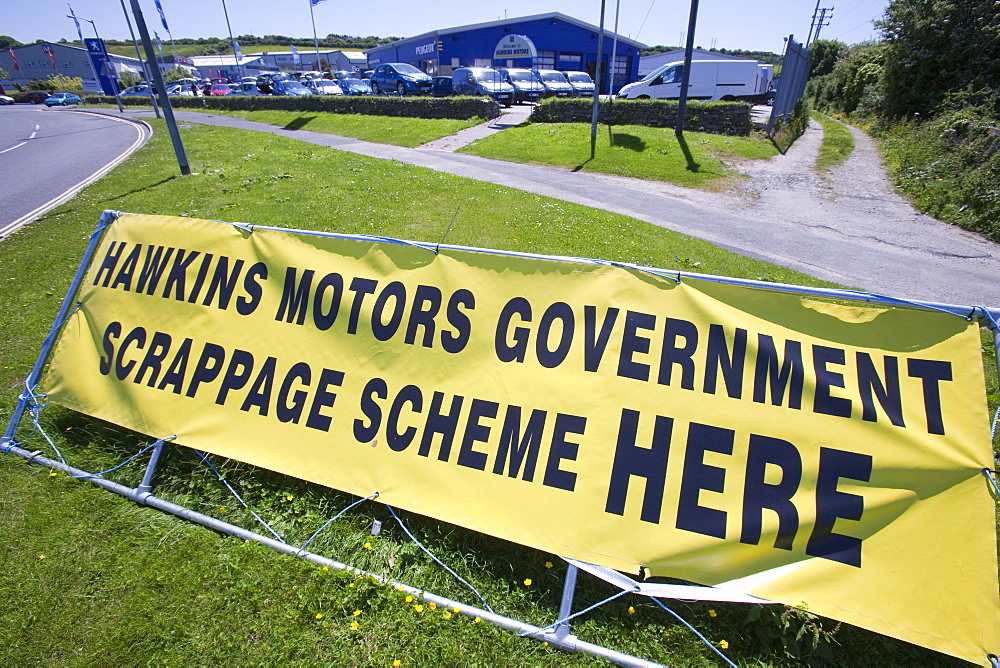 A garage in Cornwall advertising the government scrappage scheme, England, United Kingdom, Europe