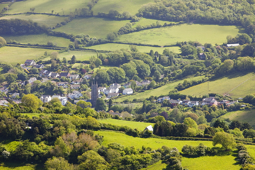Combe Martin and surrounding countryside on the north Devon coast, England, United Kingdom, Europe