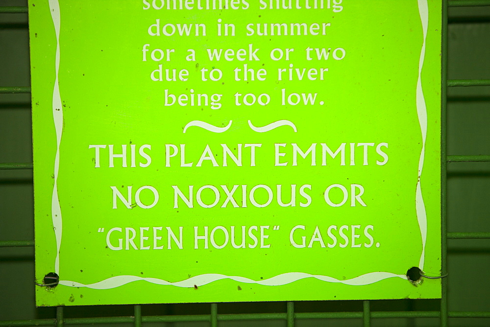 Sign at the largest privately owned HEP scheme in England and Wales, in Glen Lyn Gorge in Devon, England, United Kingdom, Europe