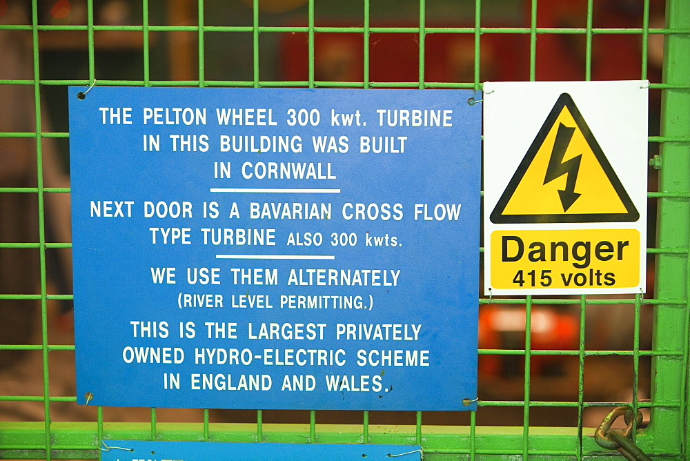 Sign at the largest privately owned HEP scheme in England and Wales, Glen Lyn Gorge in Devon, England, United Kingdom, Europe