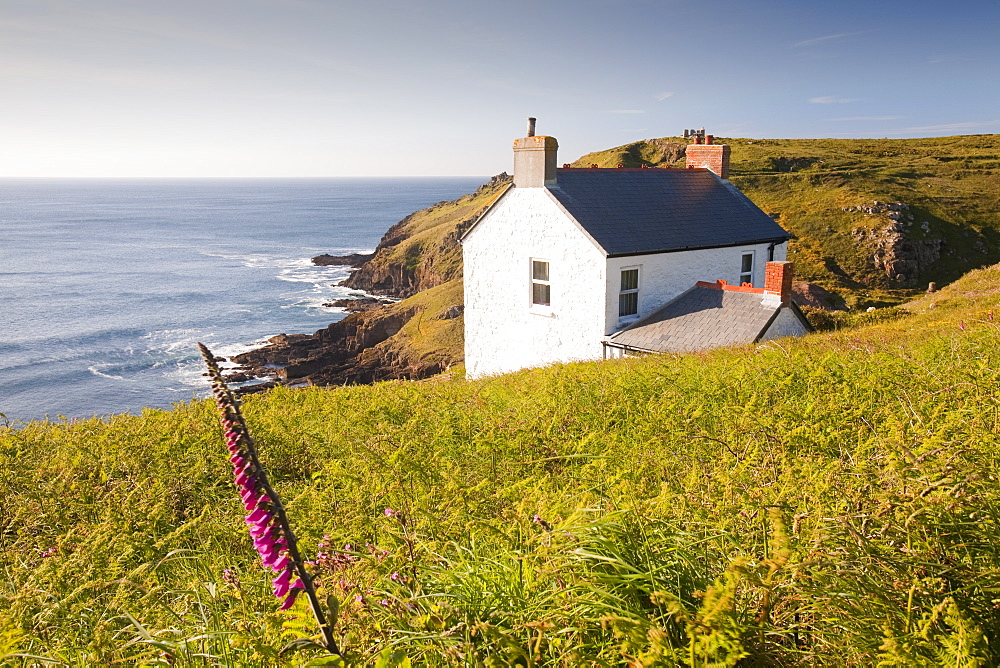 A cottage at St. Just on the sea cliffs overlooking Cape Cornwall, Cornwall, England, United Kingdom, Europe
