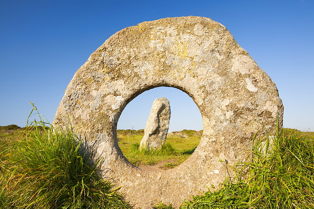 The famous Men an Tol stone near St. Just, a late Neolithic monument in Cornwall, England, United Kingdom, Europe