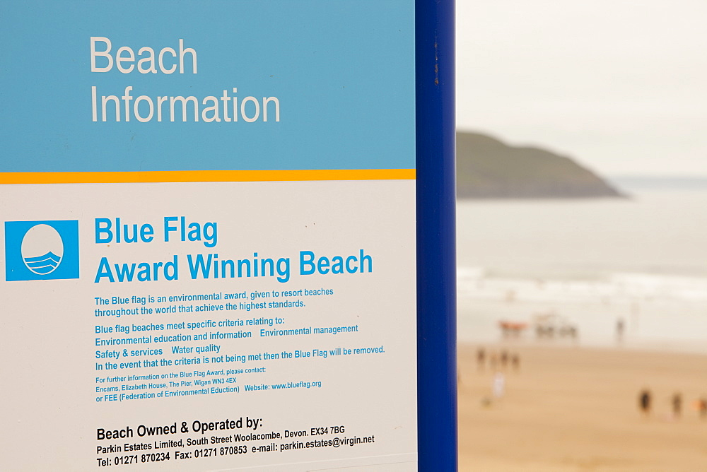 A sign on Woolacombe beach informing of its Blue Flag status for standards of cleanliness, Devon, England, United Kingdom, Europe
