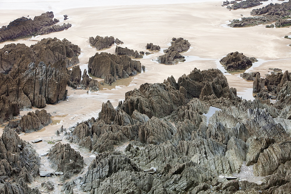 Rock strata on Woolacombe beach in north Devon, England, United Kingdom, Europe