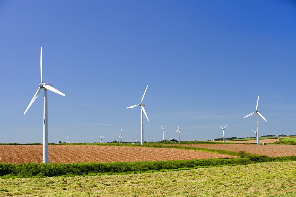 A wind farm on agricultural land in West Cornwall near St Ives, Cornwall, England, United Kingdom, Europe