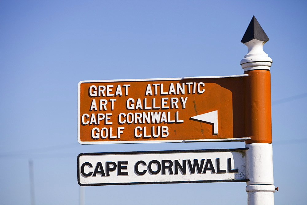 A sign for Cape Cornwall in St. Just, Cornwall, England, United Kingdom, Europe