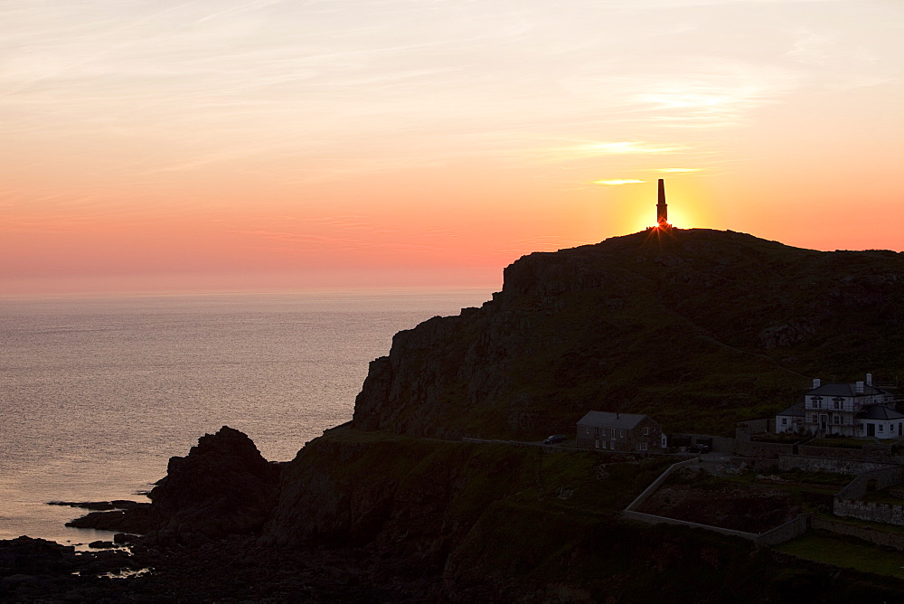 Cape Cornwall at sunset at near St. Just, Cornwall, England, United Kingdom, Europe