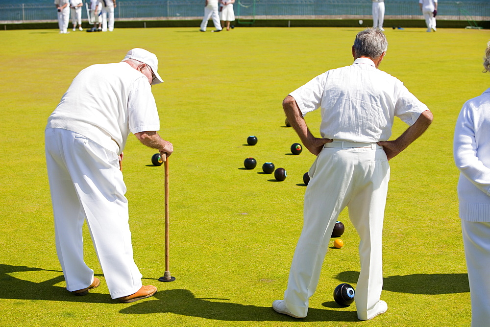 People playing bowls at Penzance in West Cornwall, England, United Kingdom, Europe