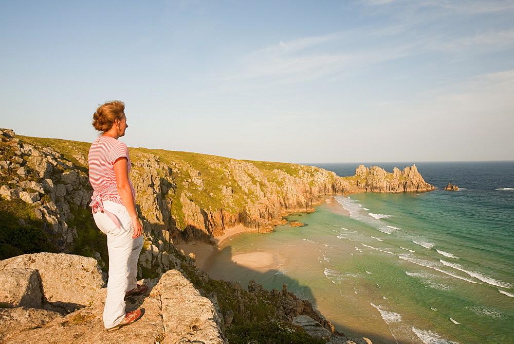 Logan Rock headland at Porthcurno in Cornwall, England, United Kingdom, Europe