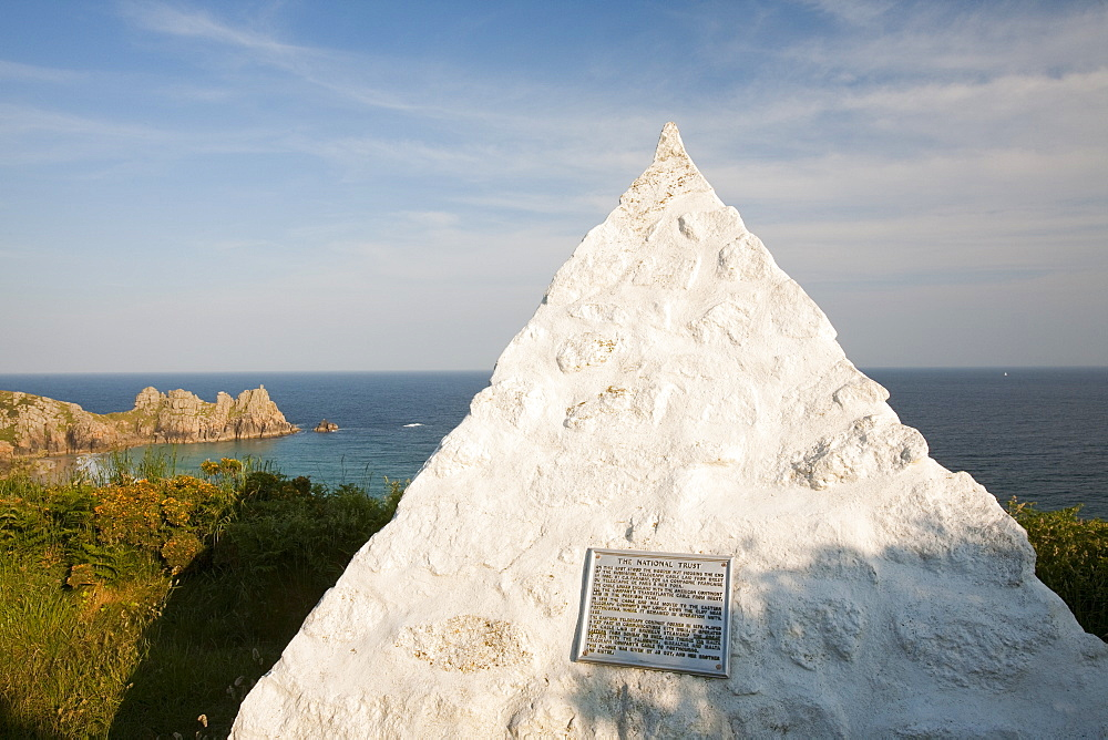 A cairn at Porthcurno to mark the submarine telegraph cable that crossed the Atlantic from the U.K. to America in the 19th century, Cornwall, England, United Kingdom, Europe