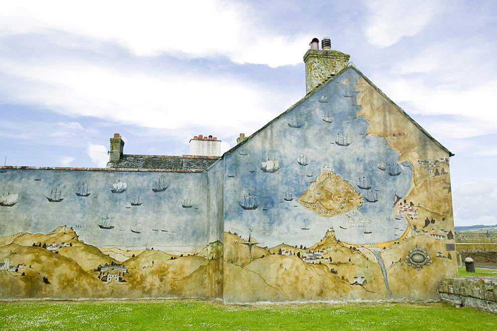 A mural on a building on St Michaels Mount, Marazion, Cornwall, England, United Kingdom, Europe